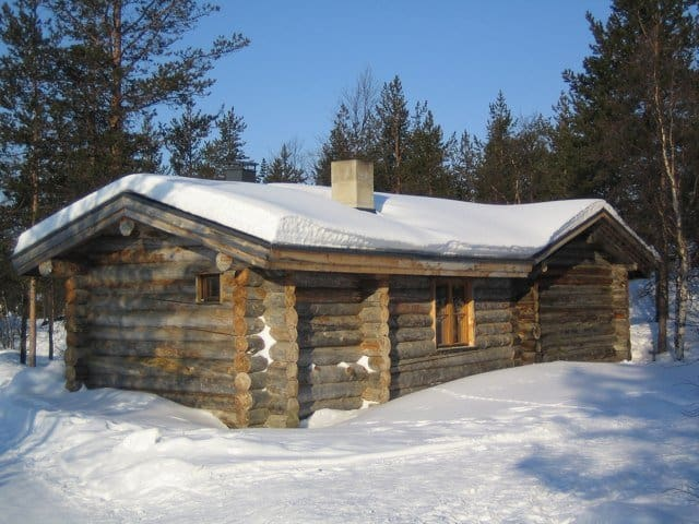 Log cabin in snow on GlobalGrasshopper.com