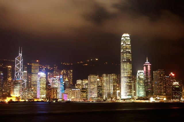 Hong Kong skyline at night by GlobalGrasshopper