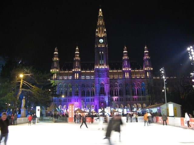 Rathaus in Vienna, Austria ice skating on GlobalGrasshopper.com