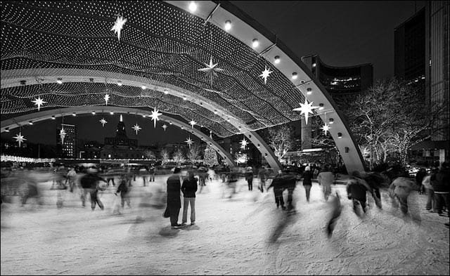 Nathan Phillips Square, Toronto ice skating on GlobalGrasshopper.com