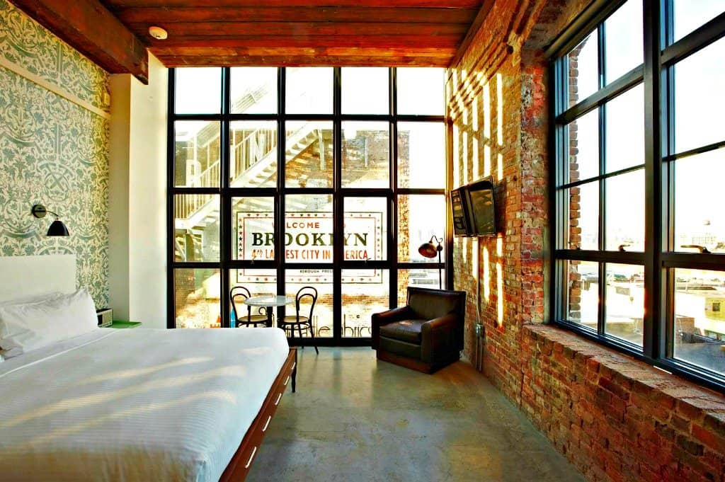 Housed In A Former 1901 Factory Which Sits On The Williamsburg Brooklyn Waterfront This Very Hip New York Hotel Offers Trendy Decor Cool Vibe
