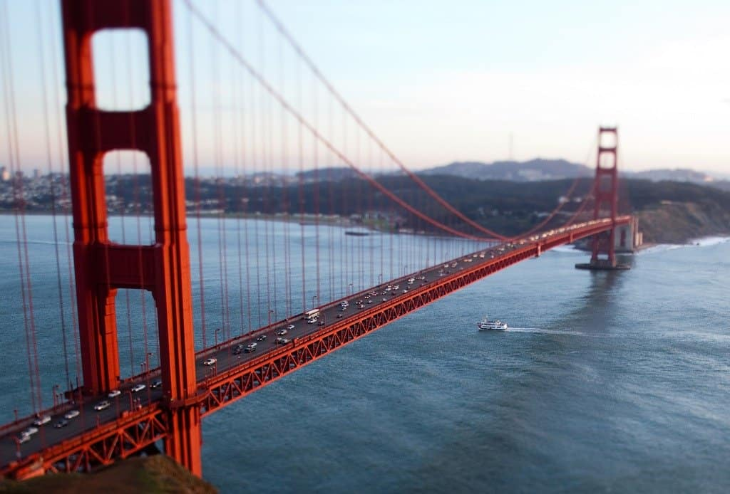 Golden Gate Bridge - tilt shift photography on GlobalGrasshopper.com