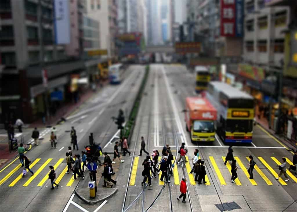 Hong Kong Crossing - tilt shift photography on GlobalGrasshopper.com