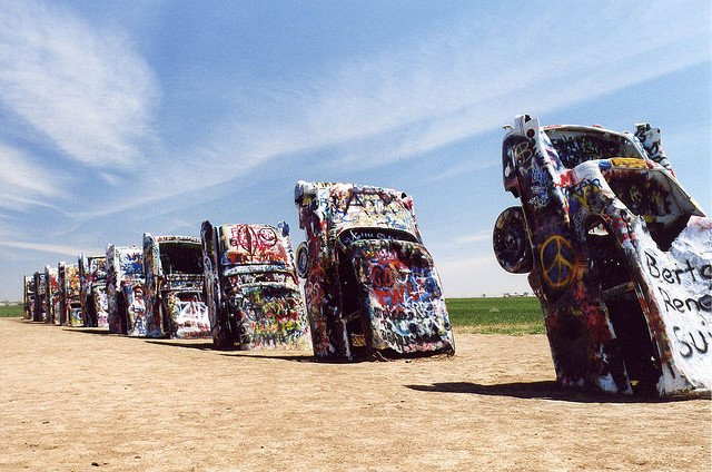 Cadillac Ranch - strange roadside attractions on GlobalGrasshopper.com