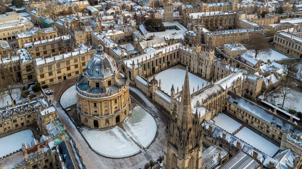 Oxford, Oxfordshire in the winter