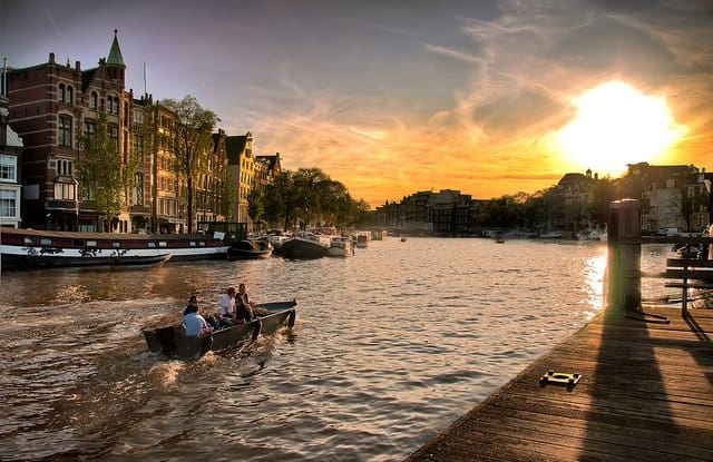 Amsterdam sunset - beautiful sunsets on GlobalGrasshopper.com