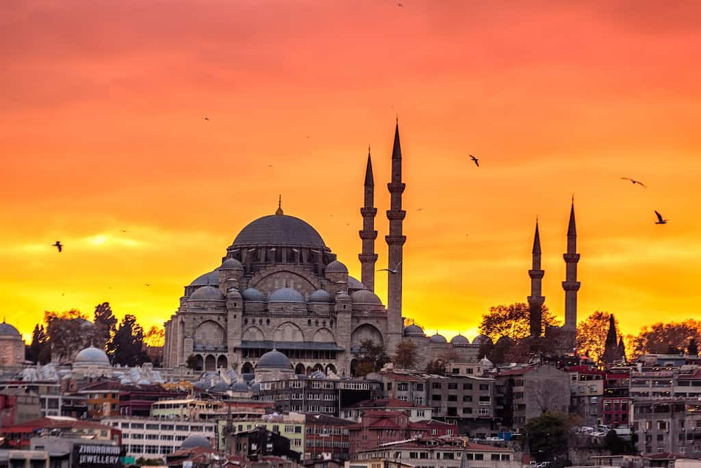 Istanbul beautiful red sunset