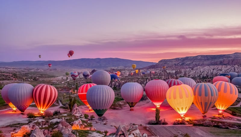 hot air balloons in Göreme Turkey