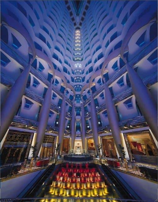 Burj Al Arab Hotel Dubai on unusual hotel lobbies on GlobalGrasshopper.com