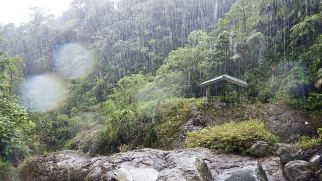 La Soufriere in the rain