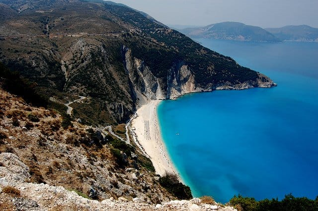 Myrtos Beach - most beautiful places to visit in Greece on GlobalGrasshopper.com