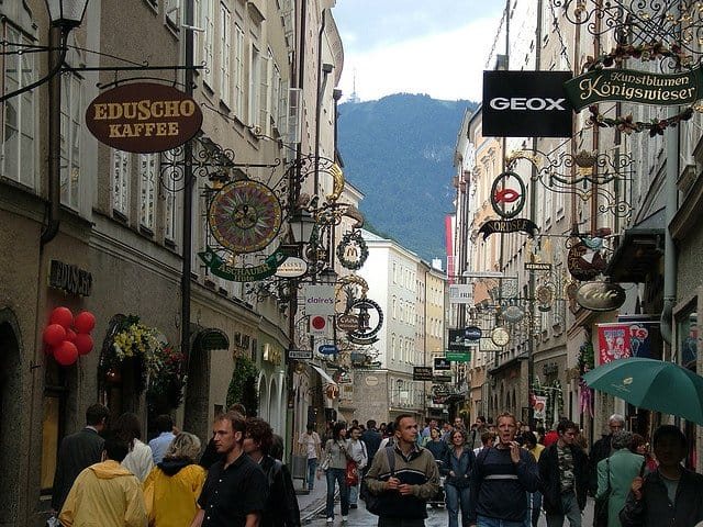 Getreidegasse Salzburg - pretty shopping streets Europe on GlobalGrasshopper.com