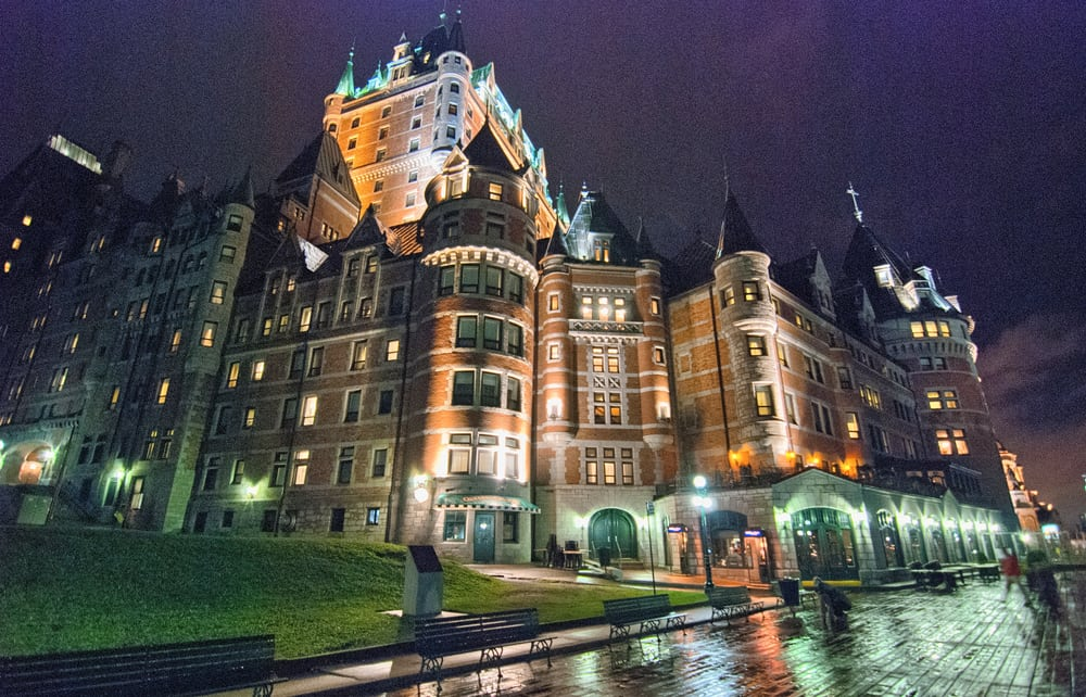 Beautiful architecture of Quebec City at night, Canada