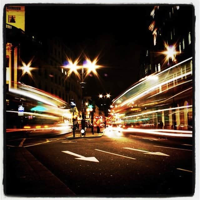 Light trails London night
