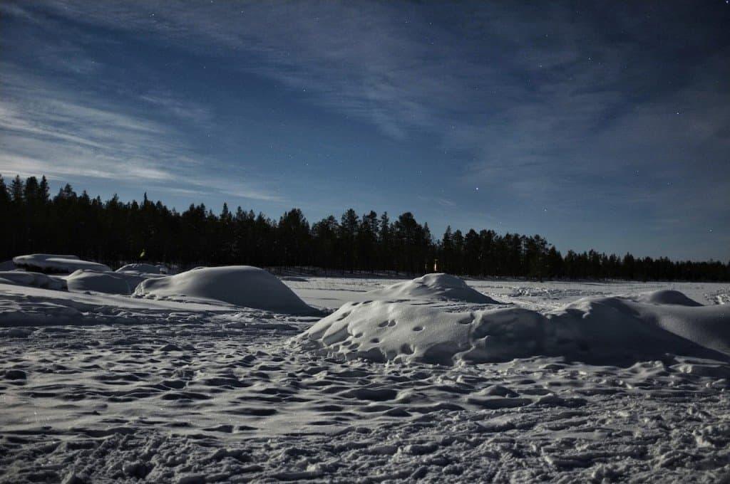 Igloos at night Finnish Lapland