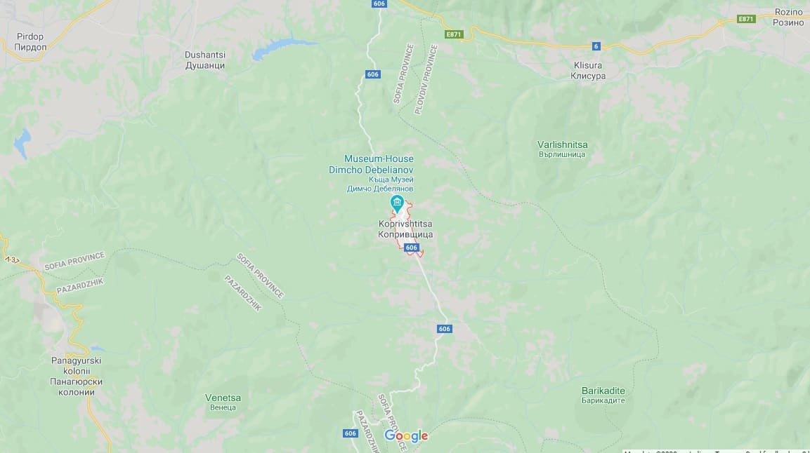 Maps - Koprivshtitsa in Bulgaria