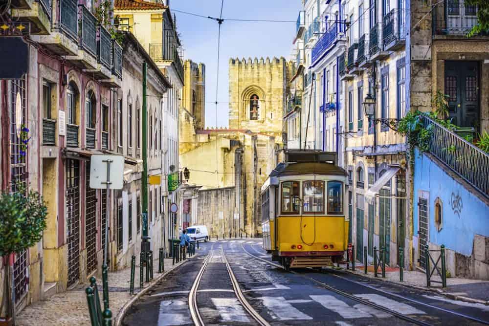 Lisbon yellow street tram