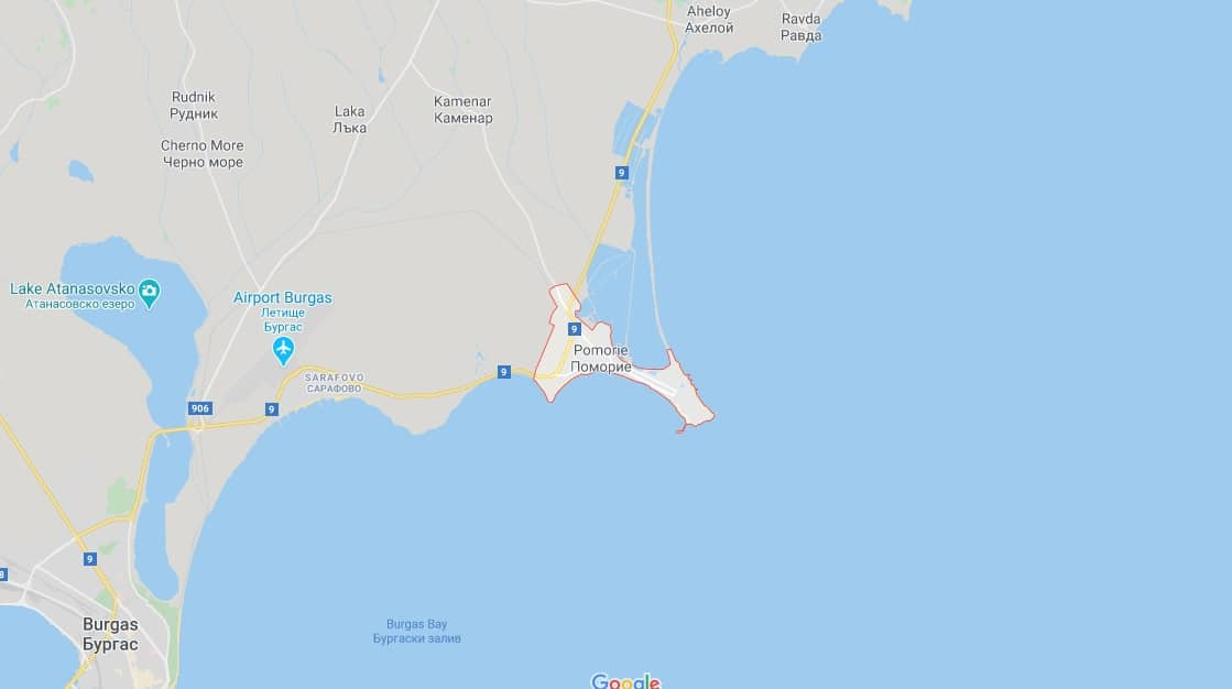 Map - where to find Pomorie in Bulgaria