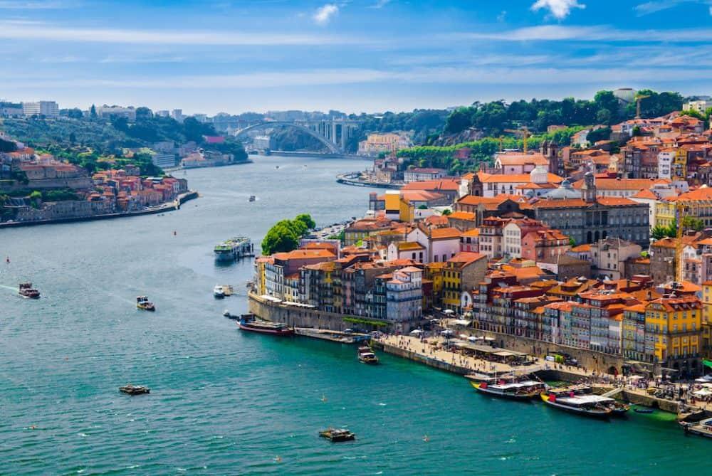 Beautiful drone view of Porto