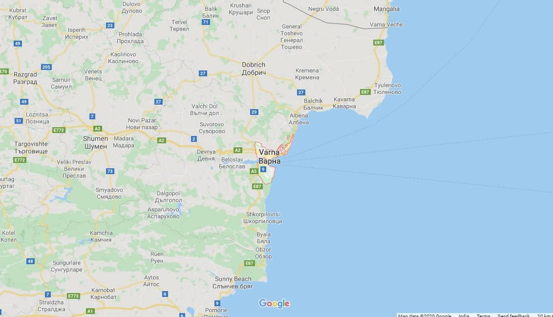 Maps - where to find Varna in Bulgaria