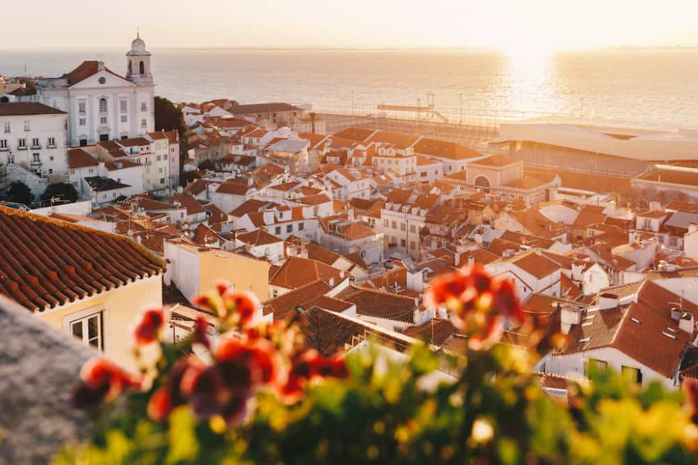 Beautiful Lisbon views from a hilltop