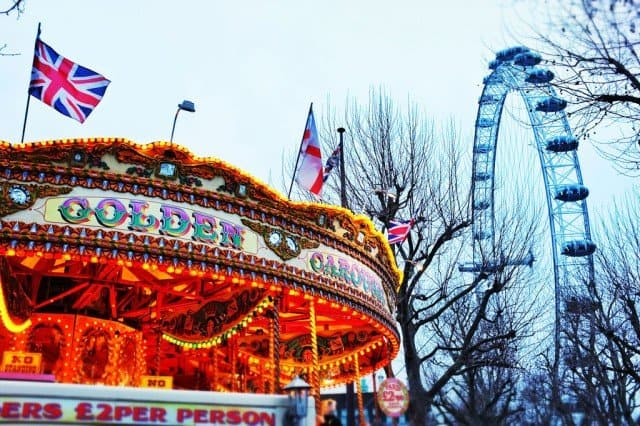 Carousel and London Eye in winter