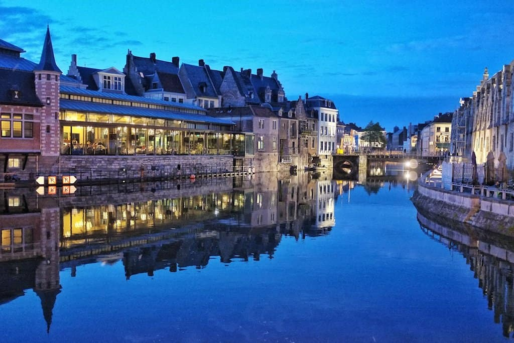 Ghent river at night
