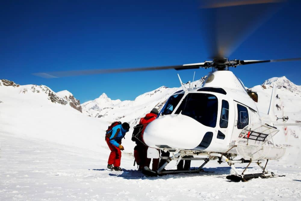 Heli-skiing mountains