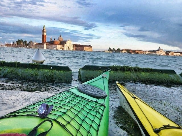 Kayaking through Venice