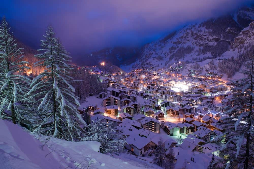 Zermatt ski resort in the winter