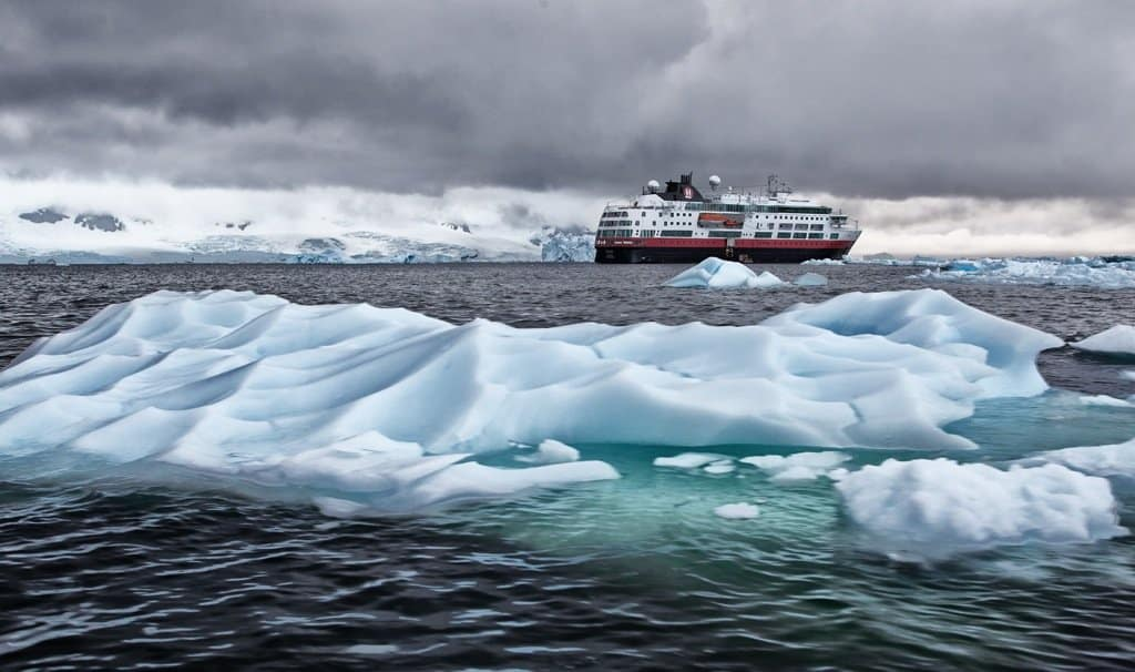 A ship sailing in the Antarctica