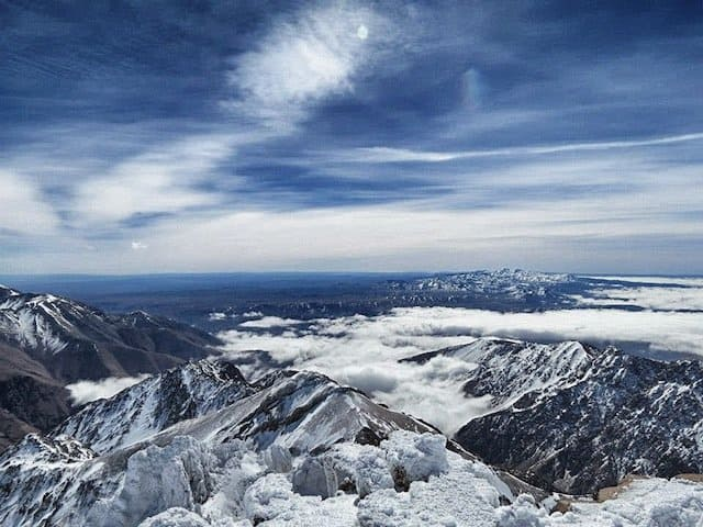 Snow tops and clouds Atlas Mountains