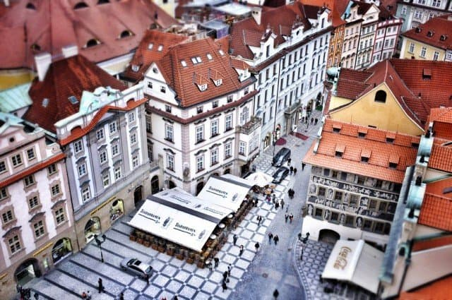 Looking down on Prague Old Town