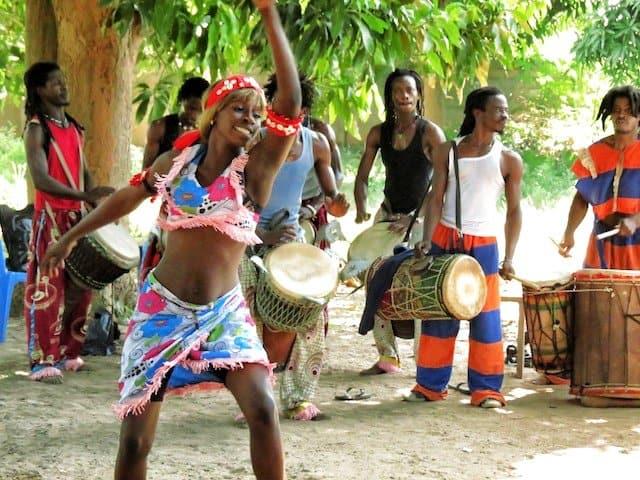 Woman dancing in Gambia