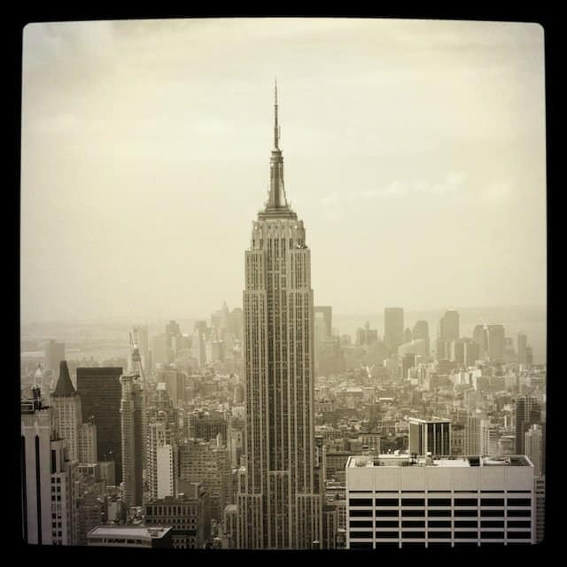 Black and white Empire State Building photo