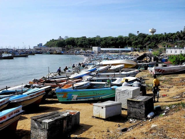 Sri Lanka boats along coast