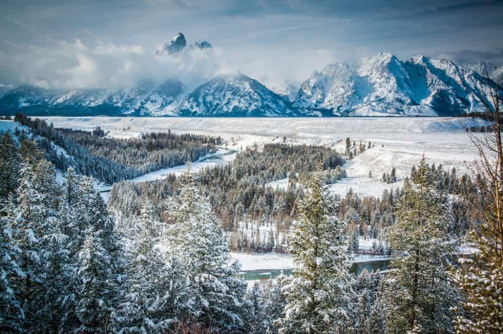 Beautiful winter scene in Wyoming