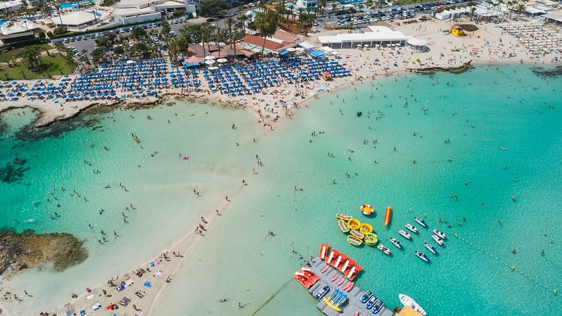 Aerial of Nissi beach Agia Napa