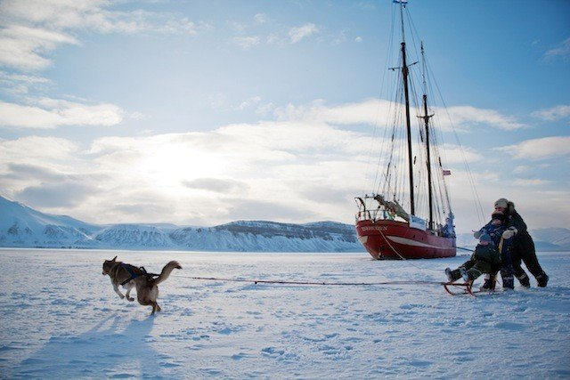 Ship in the ice Svalbard