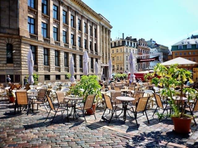 Riga beautiful square and cafes