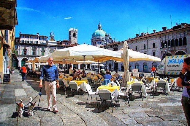 Brescia street square Italy