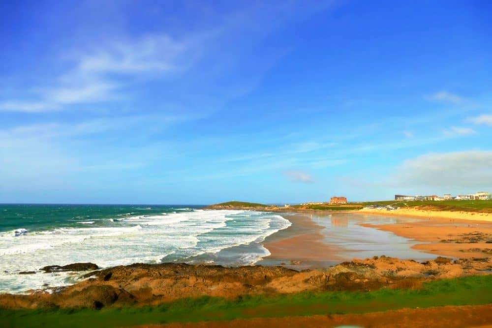 Newquay surfing beach UK