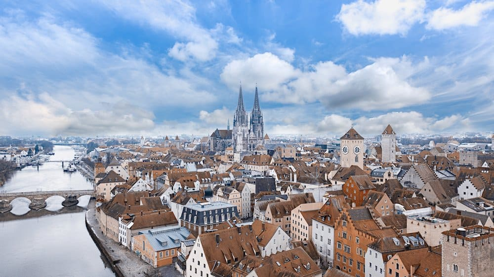 Drone shot of Regensburg, Germany
