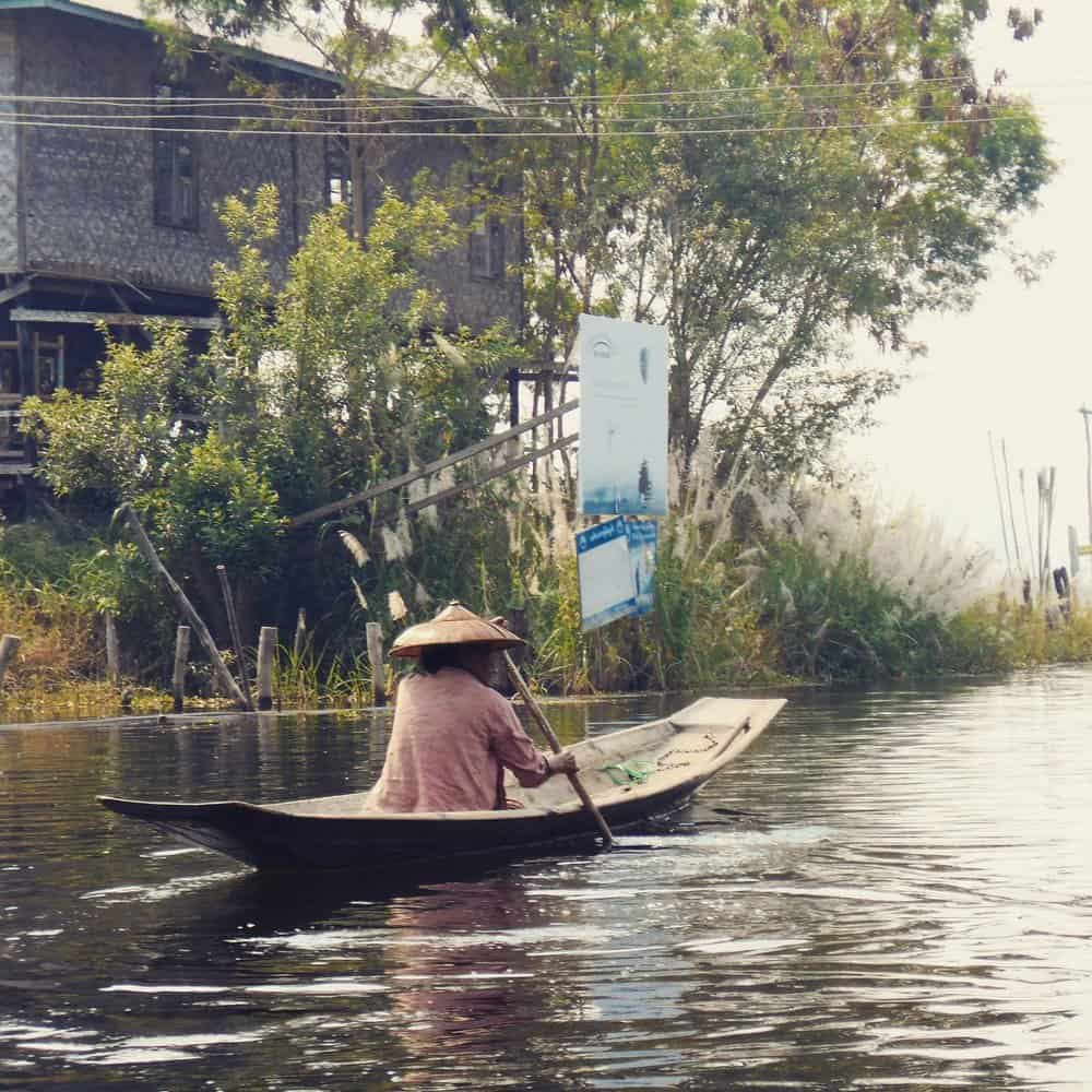 A boat on Inle Lake in Burma