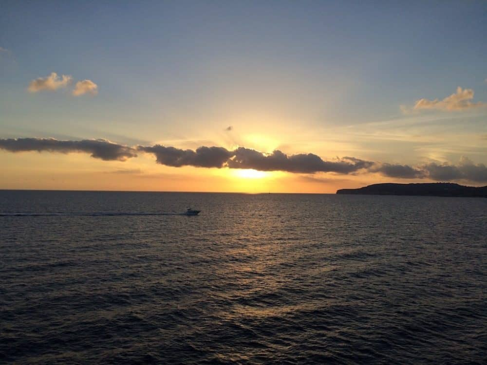 Sunset over sea in Gozo
