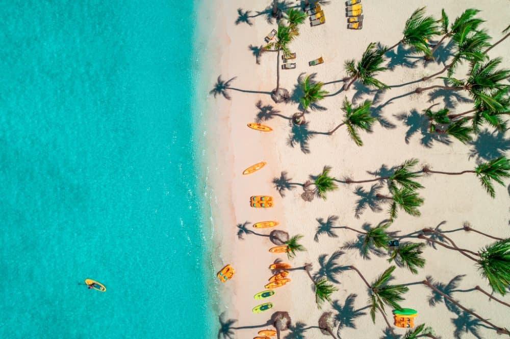 Beautiful Maldives beach drone shot