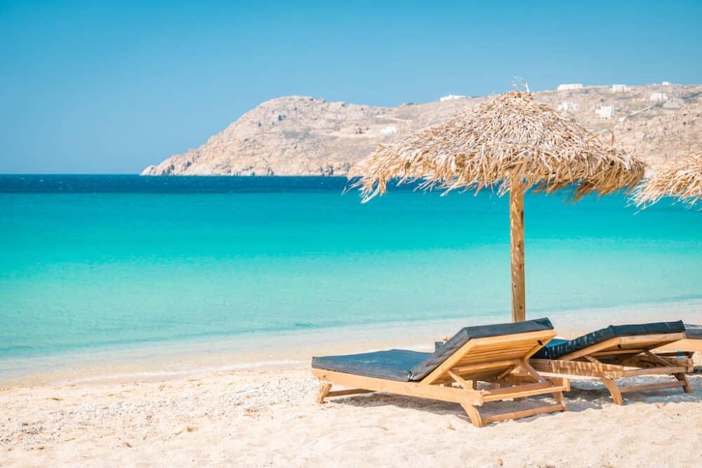 Beautiful beach on Mykonos Island Greece