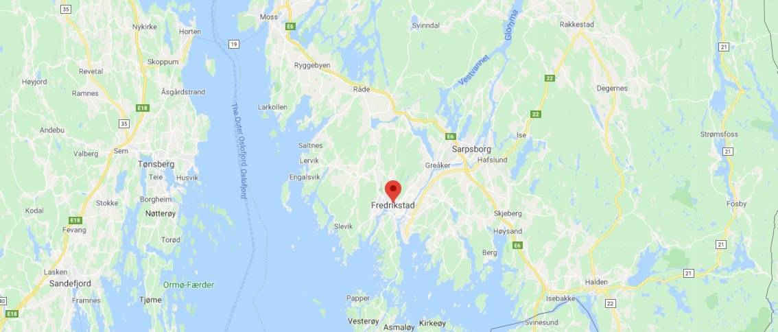 Map - where to find Fredrikstad