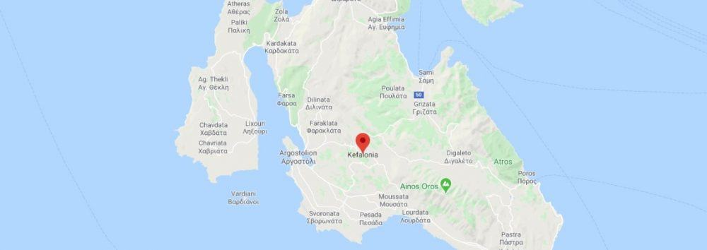 Map - where to find Kefalonia in Greece