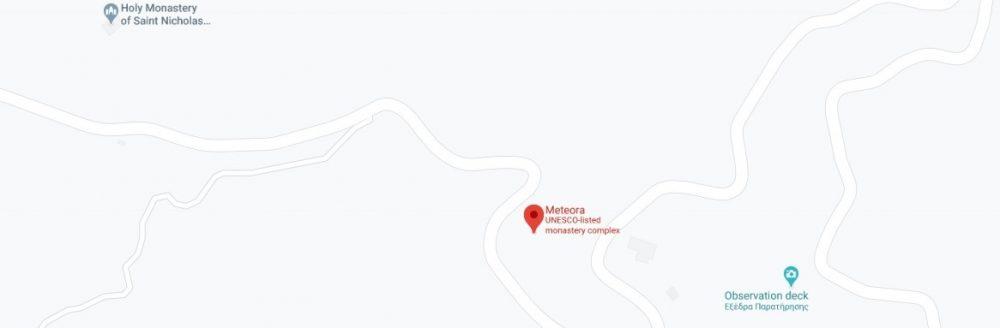 Map - where to find Meteora, Kalabaka